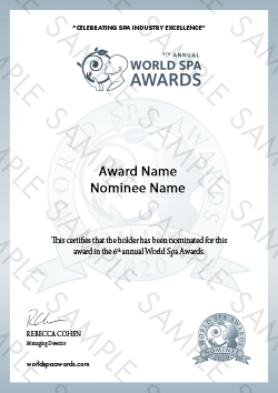 World Spa Awards certificate sample