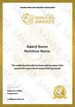 World Spa Awards winner certificate sample